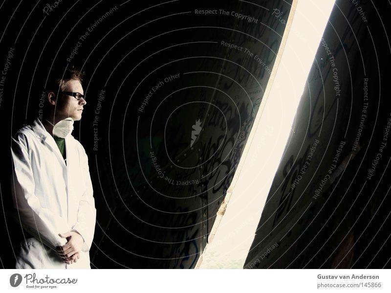 Human being Man Old White Loneliness Dark Building Door Empty Eyeglasses Round Health care Doctor Derelict Sphere Vantage point