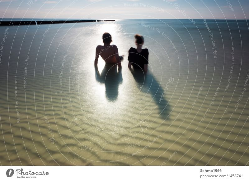 Wave pattern on the beach of the Baltic Sea, a couple sunbathing on the beach Nature Landscape Plant Animal Sand Water Cloudless sky Sun Sunlight Summer Weather