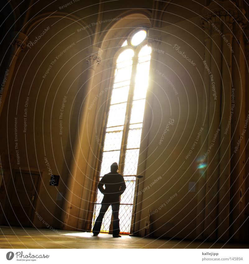 Human being Man Sun Window Architecture Building Religion and faith Arm Stars Fingers Stand Might Catch Church Belief Christianity