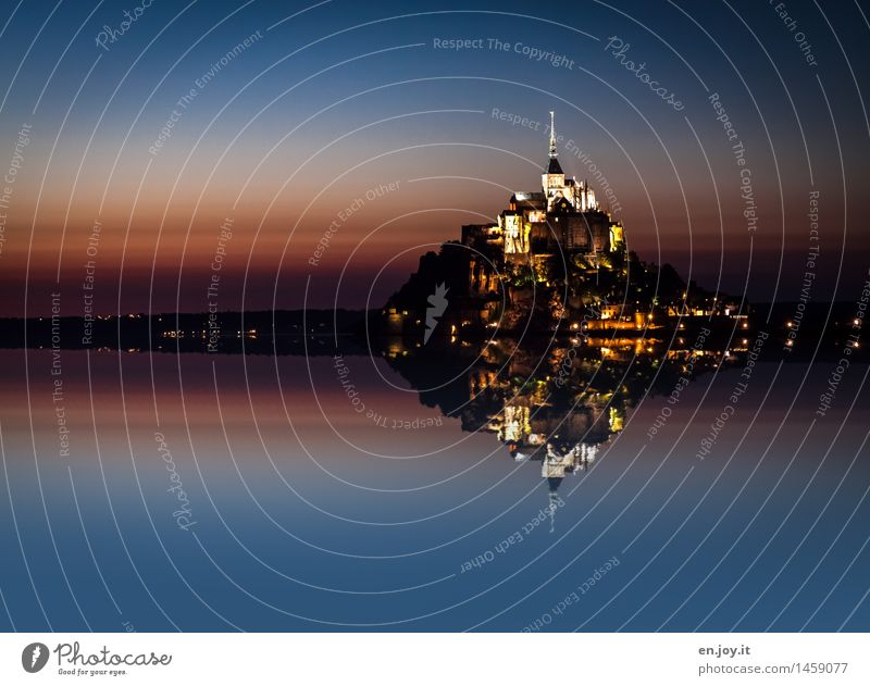 perfect reflection Vacation & Travel Tourism Far-off places Landscape Water Cloudless sky Night sky Horizon Sunrise Sunset Island Mont St. Michel Normandie