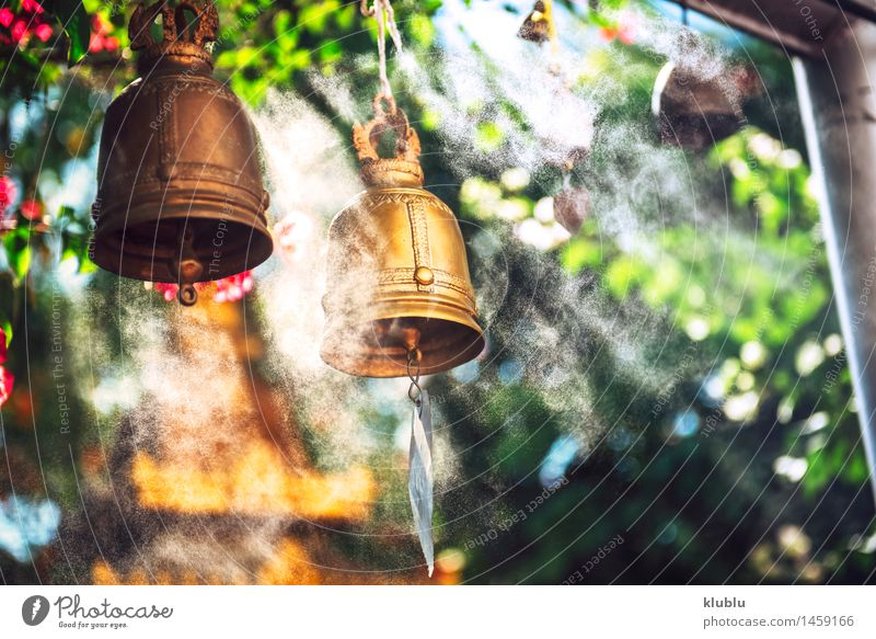Bells in Buddhist temple Calm Decoration Places Metal Rust Old Historic Religion and faith Tradition Tibet bell Nepal hindi buddhist Hinduism Solid India