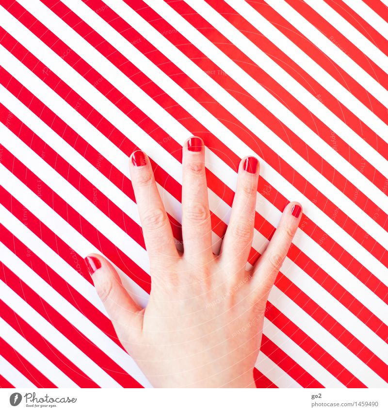 red Style Beautiful Personal hygiene Manicure Nail polish Human being Feminine Woman Adults Hand Fingers 1 Line Stripe Esthetic Exceptional Uniqueness Red White