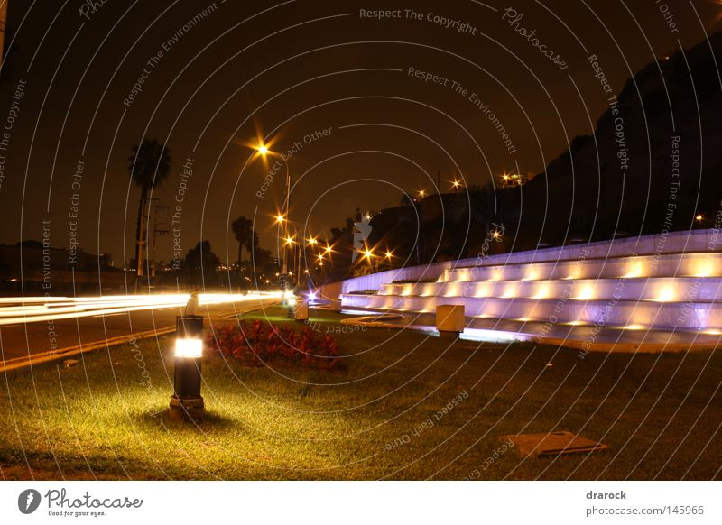 Fountain Chorrillos Pasture Garden Street Night sky Coast Hill Well Americas South American Light (Natural Phenomenon) Peru Lima Long exposure Park drarock