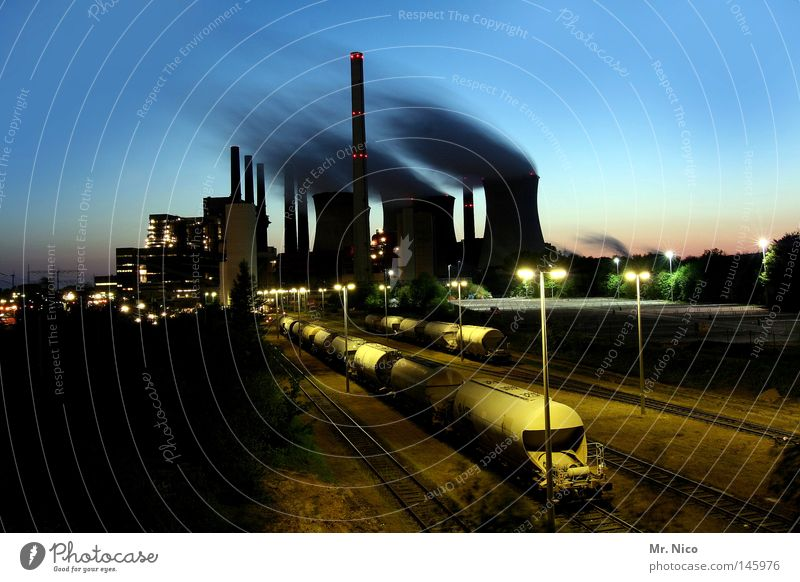 Nature Sky Blue Clouds Yellow Lamp Air Brown Power Wind Environment Railroad Industry Energy industry Electricity Factory