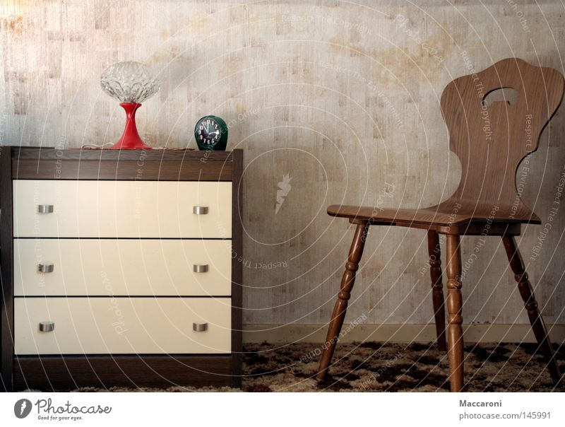 nostalgia Flat (apartment) Furniture Lamp Clock Chair Wallpaper Bedroom Painting and drawing (object) Old Sit Wait Authentic Retro Trust Unwavering Loneliness