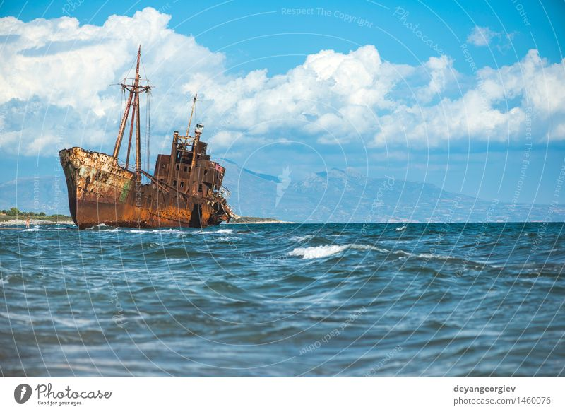 Old rustic big ship Beach Ocean Sailing Retirement Coast Transport Watercraft Metal Rust Historic Death Destruction Shipwreck Rustic water abandoned Wreck