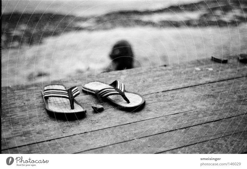 Summer Beach Vacation & Travel Coast Sandal Flip-flops Great Britain Black & white photo Ilford