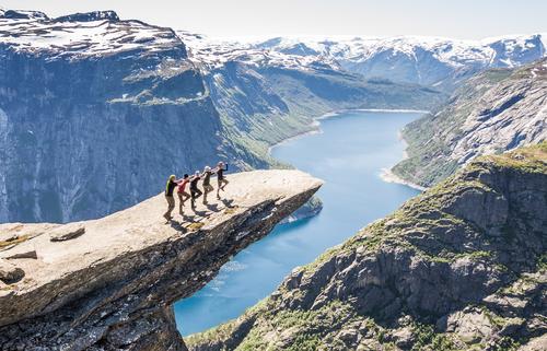 Summer Landscape Mountain Rock Friendship Success Tall Threat Beautiful weather Peak Safety Team Belief Fear of heights Trust Wanderlust