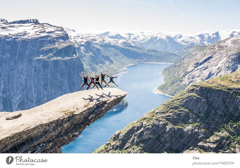 synchronized skipping Joy Human being Masculine Youth (Young adults) 5 18 - 30 years Adults 30 - 45 years Jump Adventure trolltunga Norway Landmark Freedom