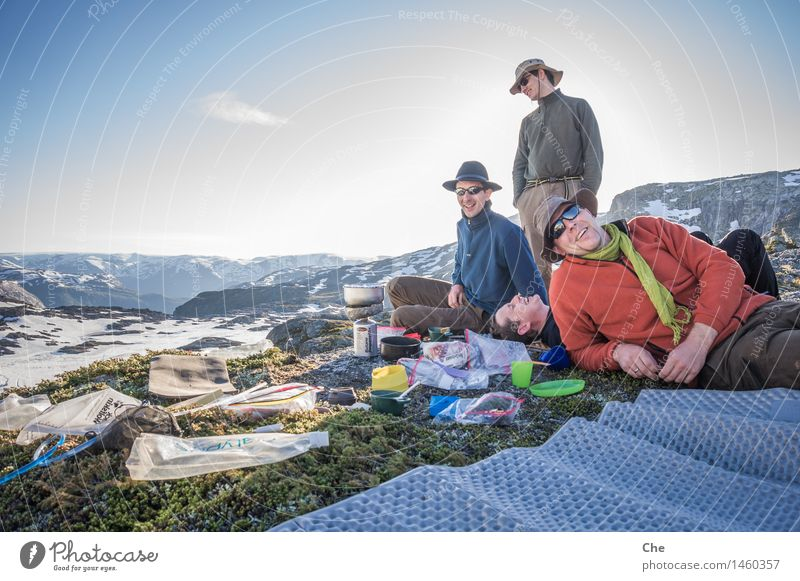 In the evening shortly before ten in Norway Masculine Young man Youth (Young adults) Friendship 4 Human being Hiking Closing time sunglasses Laughter relaxed