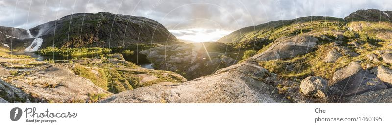 midsummer panorama Landscape Beautiful weather Glacier River Waterfall Moody Happy Enthusiasm Bravery Self-confident Power Safety (feeling of) Cleanliness
