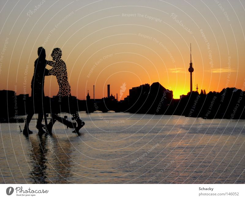 Water Summer Berlin Art Large Romance Berlin TV Tower Television tower Tourist Attraction Sunset Molecular Molecule