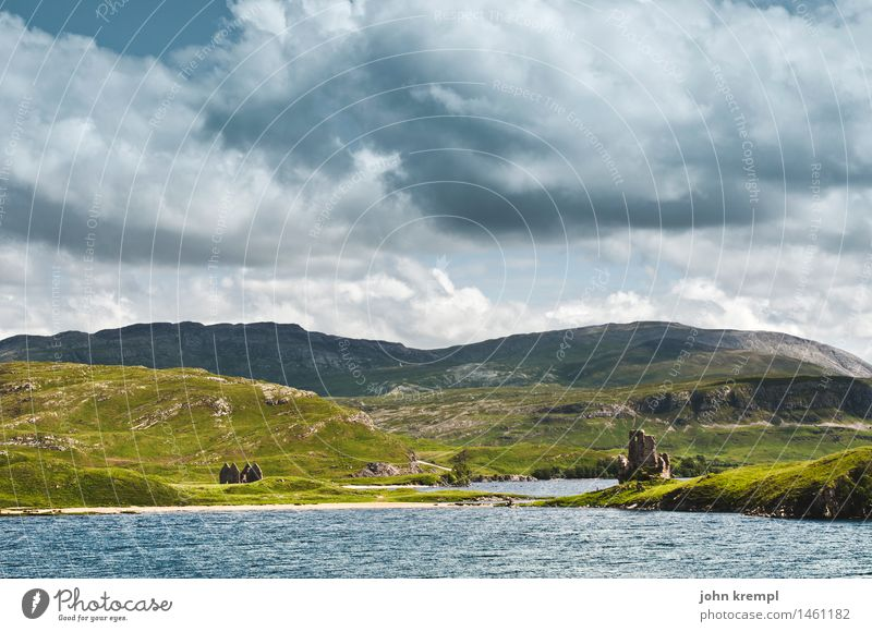 Boring Scotland Photo Water Sky Clouds Storm clouds Hill Coast Lakeside Beach Bay Fjord Ruin Castle Watch tower Threat Historic Power Safety Protection