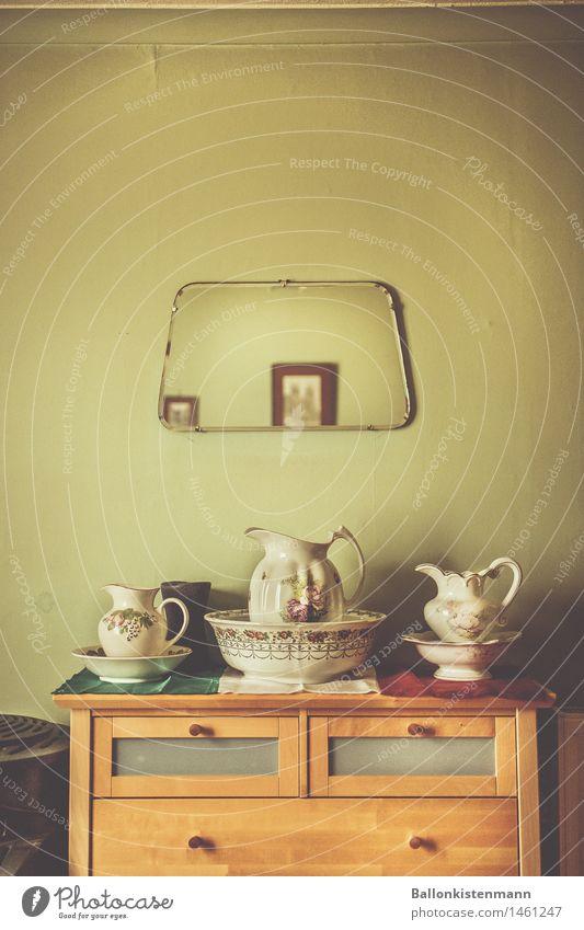 A fancy dresser from times gone by. stock photo sideboard Porcelain vintage Retro trash green Bedroom Historic Grandparents Mirror Jug Bowl washing bowl