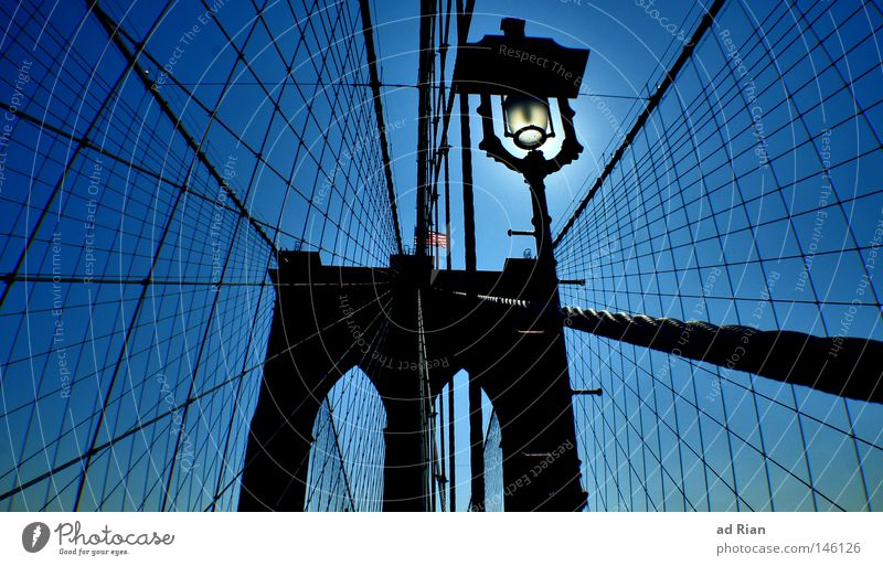 No sleep to Brooklyn Rope Sky Cloudless sky New York City Brooklyn Bridge Port City Lighthouse Manmade structures Architecture Wall (barrier) Wall (building)
