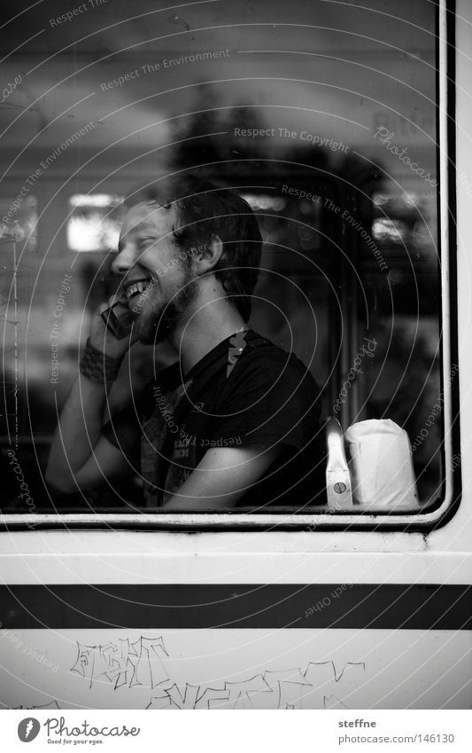 Man White Joy Black To talk Window Laughter Communicate Leisure and hobbies Information Contact Cellphone Mobility Bus Telephone To call someone (telephone)