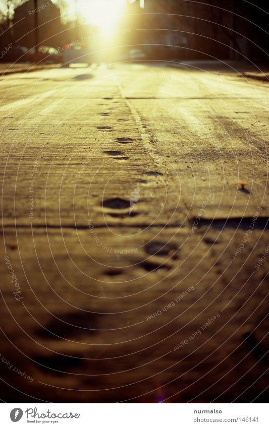Monday morning Gold Morning Sun Light Street Footprint Feet Concrete Seam GDR Highway Ground Under Back-light Analog Slide Bequest Tracks Memory