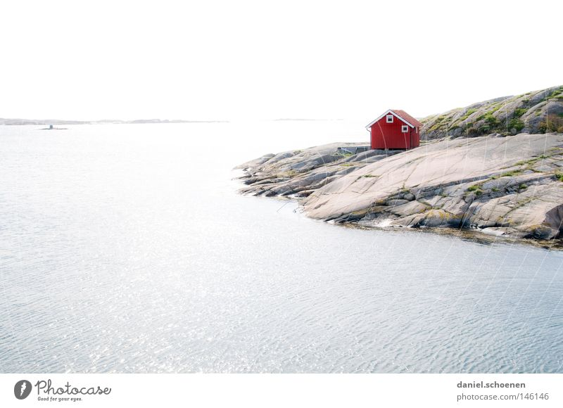 Sweden 2 House (Residential Structure) Hut Ocean Lake Scandinavia Sky Weather Calm Relaxation Vacation & Travel Travel photography Summer Wood Red Blue Building