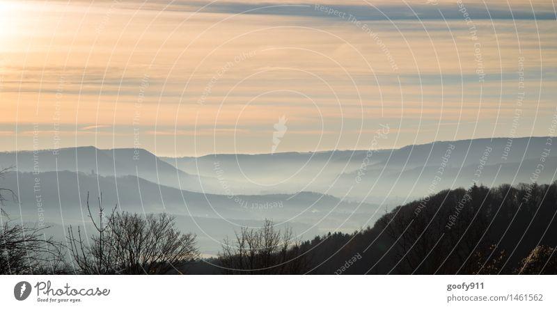 Nature Blue White Loneliness Landscape Calm Winter Black Cold Yellow Orange Fog Gloomy Beautiful weather Eternity Hill