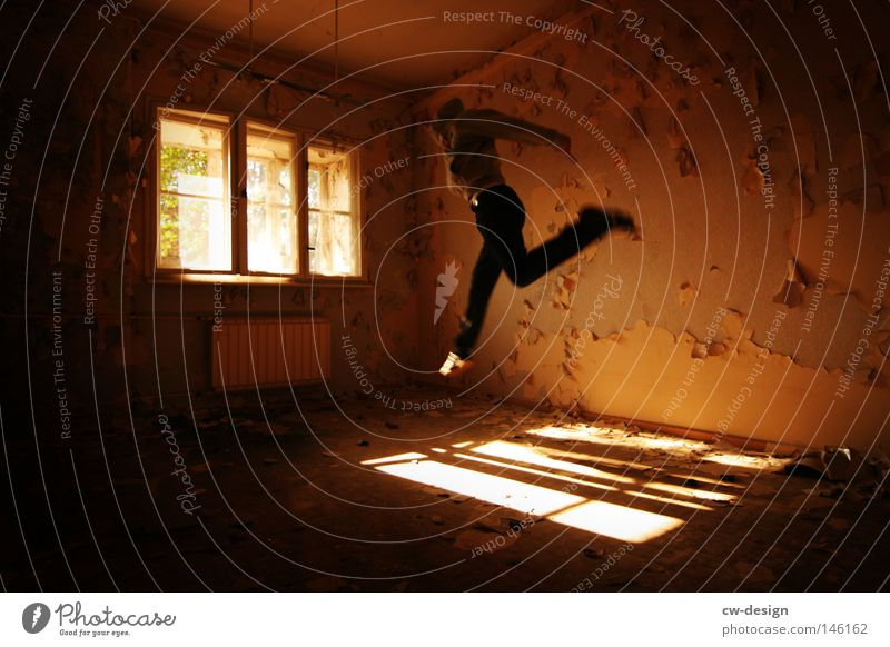 Human being Man Old Sun Joy Loneliness House (Residential Structure) Calm Window Cold Playing Stone Jump Bright Line Room