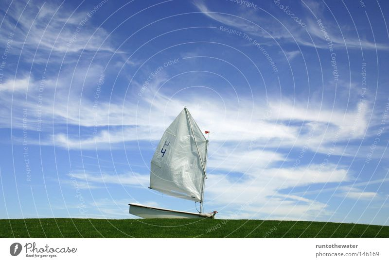 shore leave Real estate Water Watercraft Optimist Sky Earth Lawn Meadow Clouds Gale Wind Loneliness Misplaced Rebuild Ocean opti Sail possible applications