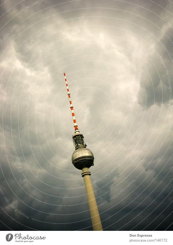 berlin thunder Television Sky Clouds Storm Thunder and lightning Capital city Tower Building Antenna Landmark Monument Threat Dark Historic Tall Point Berlin