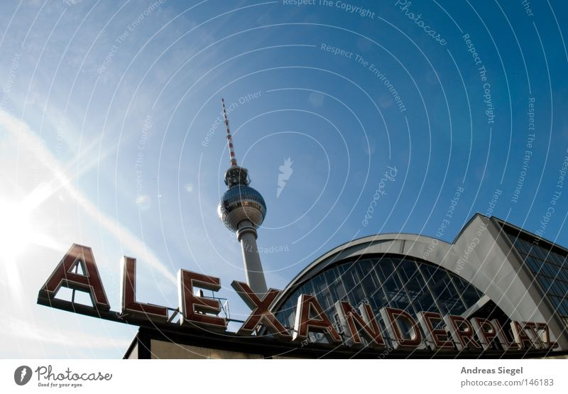 alexanderplatz Fisheye Sky Train station Landmark Monument Characters Blue Alexanderplatz Berlin Berlin TV Tower Television tower GDR Architecture