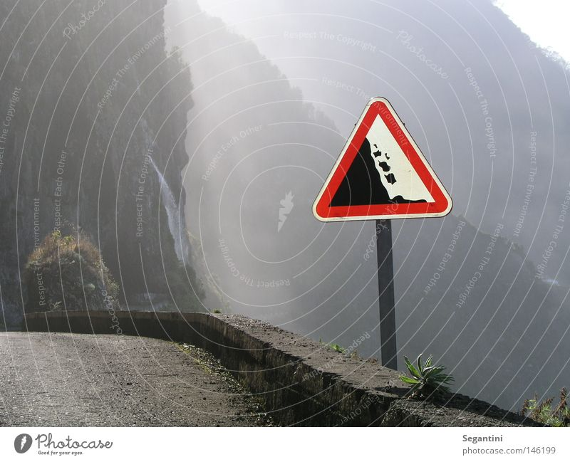 Street Mountain Stone Lanes & trails Signs and labeling Threat Waterfall Vertical Narrow Madeira Wall of rock Rockfall