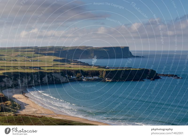 Whitepark Bay, Northern Ireland Landscape Sand Water Sky Clouds Autumn Tree Meadow Waves Coast Ocean Village Populated Manmade structures Harbour Blue Green