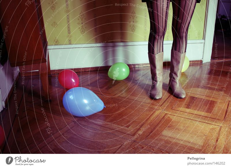 playground Parquet floor Wood Framework Room Boots Woman Wallpaper Wall (building) Doomed Loneliness bottom Colour stumps Legs Shadow Balloon
