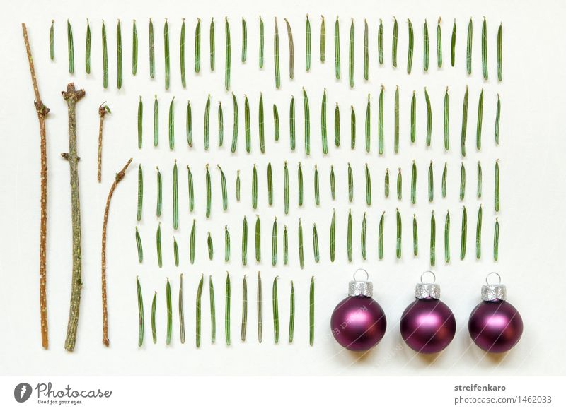 Christmas decoration - Single branches of a conifer tree with fir needles and Christmas balls to put together Harmonious Contentment Leisure and hobbies