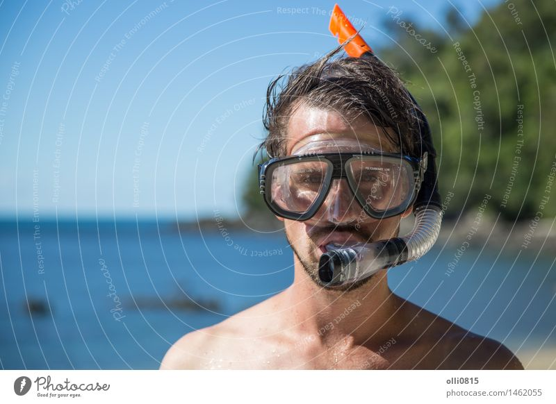 Young man with snorkeling gear Lifestyle Joy Face Relaxation Vacation & Travel Tourism Summer Sun Beach Ocean Sports Dive School Human being Boy (child) Man