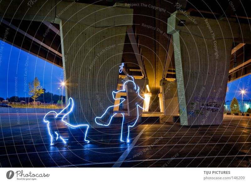 The Ruhr Life Jump Party Dance Fear Long exposure Bridge Floor covering Ground Might Human being Harbour Dancer Street lighting Column