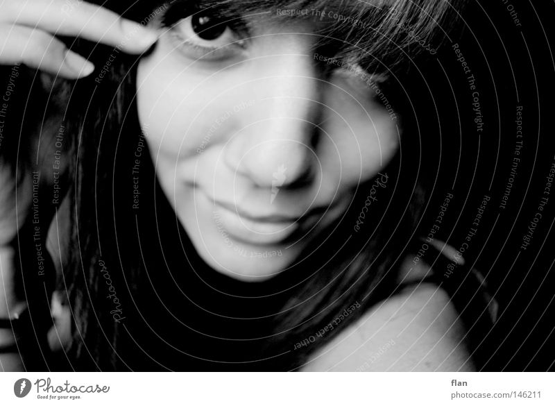 that time Portrait photograph Woman Face Black & white photo Looking Hand Delicate Caresses Smooth Esthetic Eyes Laughter Hair and hairstyles mask sb./sth.