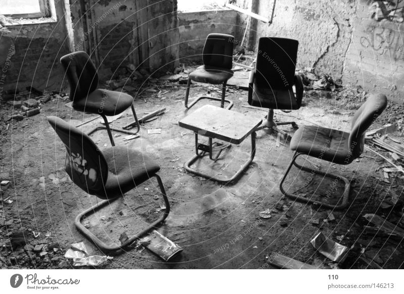 conference Office Ruin Office chair Loneliness Meeting Empty Derelict vacant