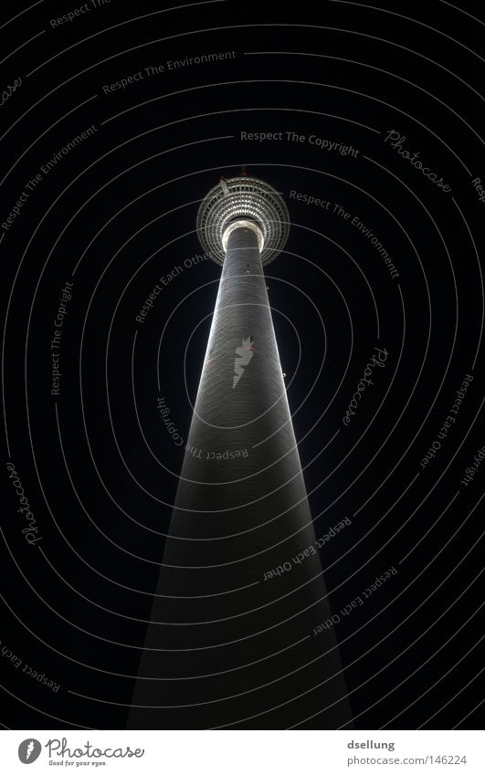 TV tower at night with lighting Berlin Alexanderplatz Berlin TV Tower Night Dark Lighting Universe HDR Cold Wind Frozen Fingers Absurdity Sky Infinity Honey