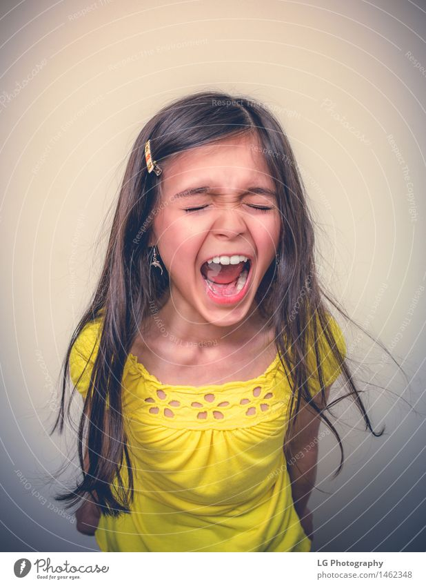 Young Girl Screaming With Closed Eyes 1 Human being 8 - 13 years Child Infancy Fight Aggression Beautiful Smart Crazy Emotions Power Might Determination Fear