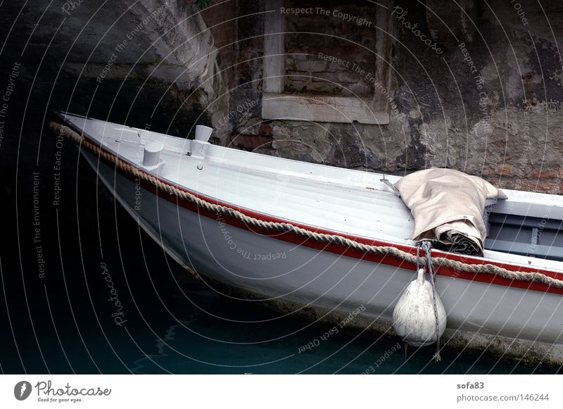 venice l Watercraft White White sea Venice Channel Drop anchor Wall (barrier) Parking Parking lot Old Italy Navigation