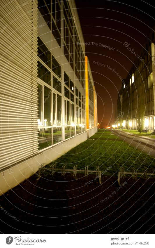 the uni has started again..... Night Light Grass Town House (Residential Structure) Facade Window Bicycle rack Gravel Chemnitz Lamp Lantern Modern Education