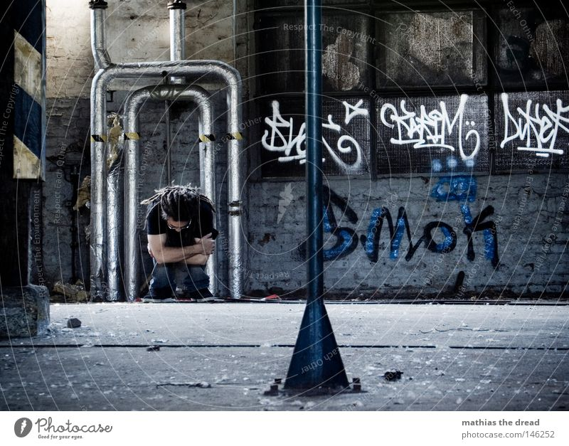 Man Hand Old Loneliness Wall (building) Window Hair and hairstyles Dye Feet Footwear Legs Graffiti Bright Room Power Fear