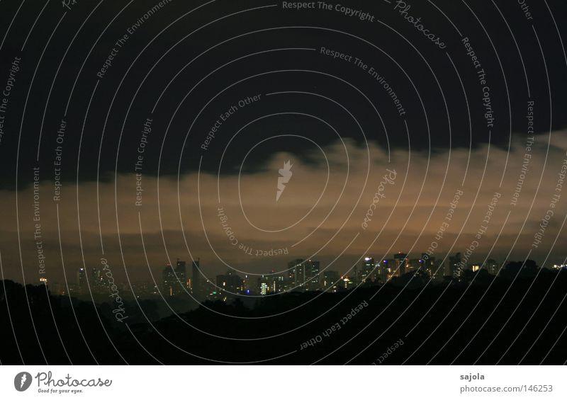 Sky Tree City Clouds Dark Gray Moody High-rise Horizon Vantage point Threat Asia Skyline Downtown Dusk Singapore