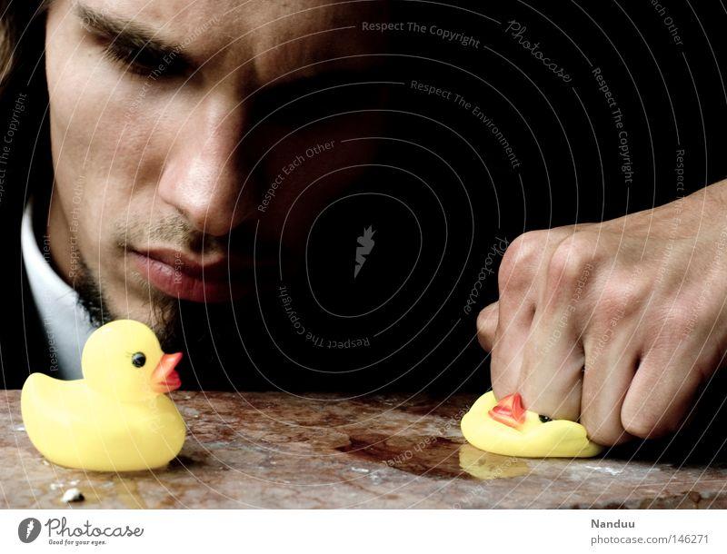 Human being Man Bird Might Force Evil Duck Beat Fist Innocent Mafia Squeak duck Toys Torture Questioning
