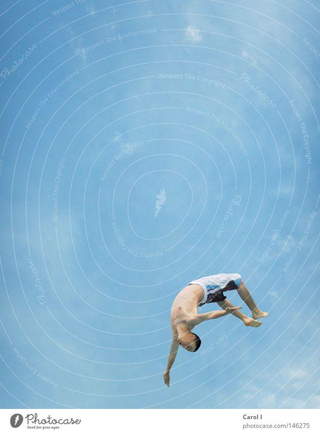 Sky Man Water Blue Vacation & Travel Ocean Joy Clouds Playing Freedom Jump Air Lake Feet Wet Swimming & Bathing