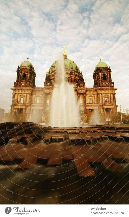 For life is a river that must flow... Flow Fountain Clouds Concrete Steel Monumental Manmade structures Historic Domed roof Landmark Berlin House of worship