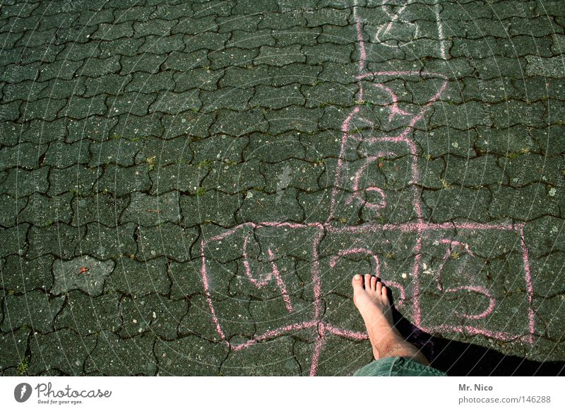 Human being Child Green Summer Joy Loneliness Street Warmth Playing Gray Jump Legs Feet Line Leisure and hobbies Skin