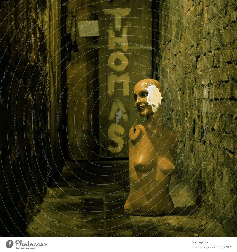 thomas d. meets jenny e. Mannequin Broken Destruction Bulk rubbish Cellar Cellar wall Cellar door Defective Torso Eerie Zombie Invalided out