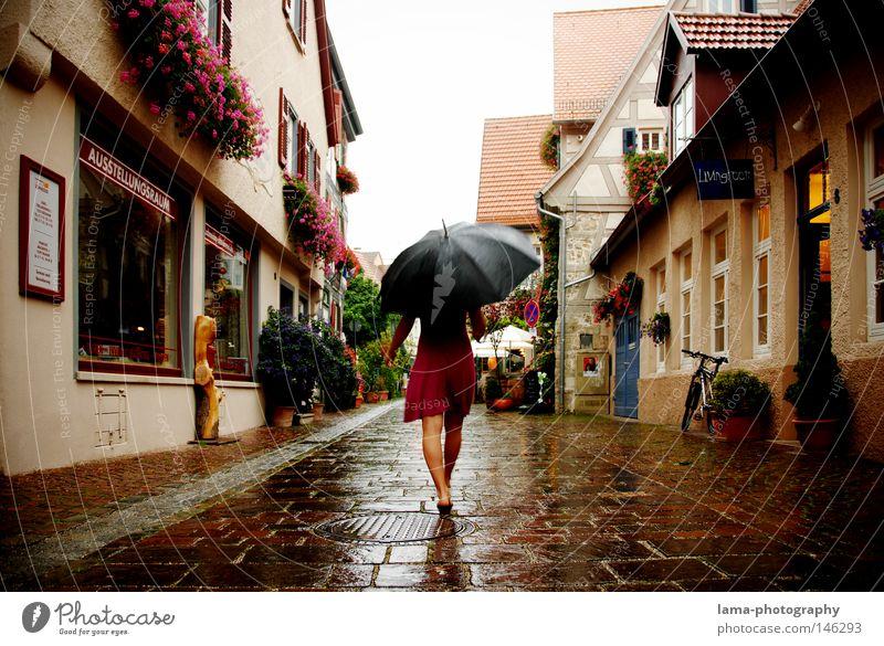 summer rain Rain Weather Thunder and lightning Wet Cold Umbrella Damp Dress To go for a walk Walking Going Pedestrian Pedestrian precinct Downtown Old town Town