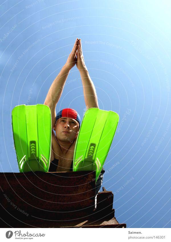 Hand Sky Sun Ocean Green Blue Summer Joy Beach Vacation & Travel Sports Playing Bright Arm Bridge Swimming pool