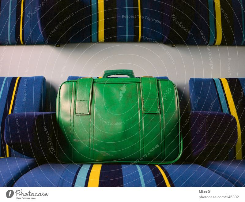 Old Green Blue Vacation & Travel Yellow Lanes & trails Line Transport Railroad Trip Driving Stripe Cloth Underground Train station Leather