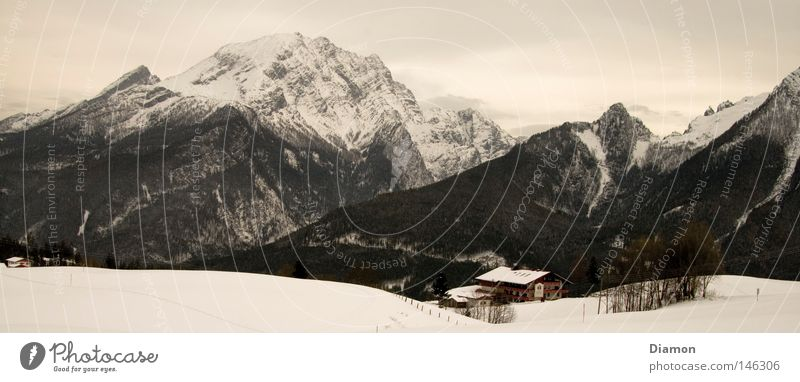 Winter House (Residential Structure) Forest Mountain Large Hut Panorama (Format)